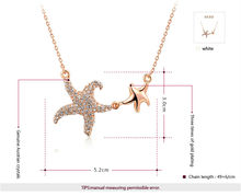 ROXI Christmas Gift Fashion Jewelry Rose Gold Plated Statement Double Starfish Necklace For Women Party Wedding