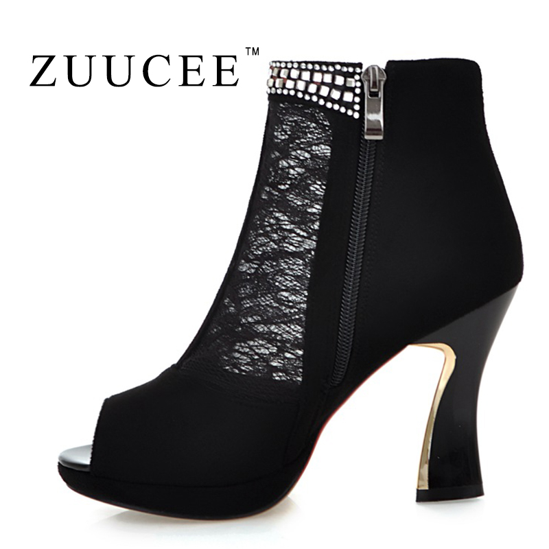 Фотография ZUUCEE 2016 Summer Boots High heel Women Boots Brand Lace Ankle Women Shoes Black Zapatos Mujer Summer Shoes Women