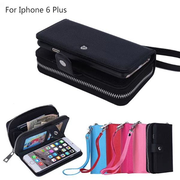 Iphone 6 plus 5.5inch Genuine Leather Wallet Zipper Phone Cases Stand Folded Card Slot cover Lady Women - OLLIVAN Headquarters Store store