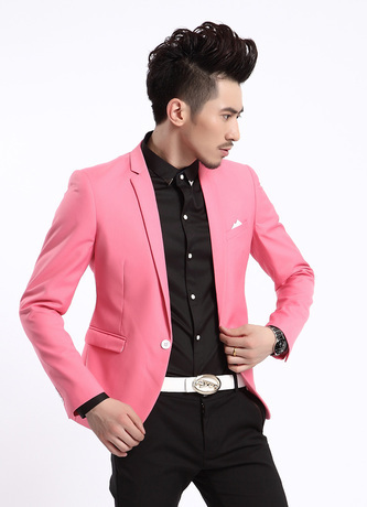 Autumn Spring Stylish Men's One Button Slim Fit Candy Color Blazer Pink Jacket/ Blue White Red Grey Casual Jacket Blazer Men