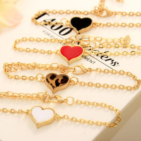 9 Colors Small European US Jewelry Vintage Love Heart Clover Flower Chain Charm Bracelets(China (Mainland))