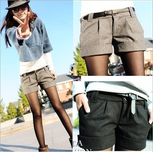 2015 autumn and winter women's turn-up straight woolen bootcut short pants plus large big size casual shorts black grey WL1002(China (Mainland))