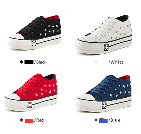 Retail/wholesale New arrival Rivet elevator shoes fashion sport sneaker shoes female woman running chaussure femme platform(China (Mainland))