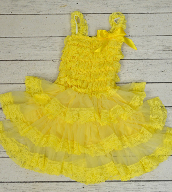 Original Price on 28th,Feb, Yellow Lace Dress, Romper Style Photo Prop Vintage Look Holiday Pageant Dress(China (Mainland))