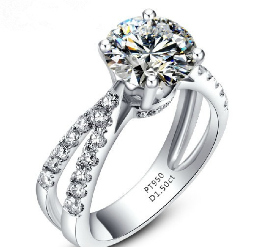 2015 Sale Sterling Jewelry Wedding Rings Pretty Cut 1.5ct Genuine 18k Ring Synthetic Best Bridal Wedding Jewelry(China (Mainland))