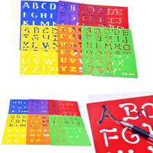 6Pcs Washable Stencils Kids Capitall Alphabet Letter Drawing Templates Children Educational Toys Plastic Painting 277x215mm(China (Mainland))