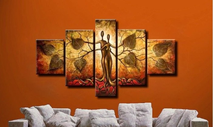 100 Handmade Discount Abstract African Canvas Art Landscape Oil Painting 5 Panel Modern