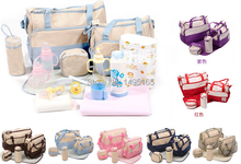 Baby Care 2016 Fashion 5Pcs/set Diaper Bag Mummy Bag Mother Bag For Baby High Quality Baby Changing Bags 7 Colors