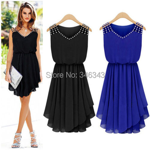 Гаджет  Details about Women casual loose sleeveless chiffon diamond Party Cocktail pleated mini dress None Одежда и аксессуары