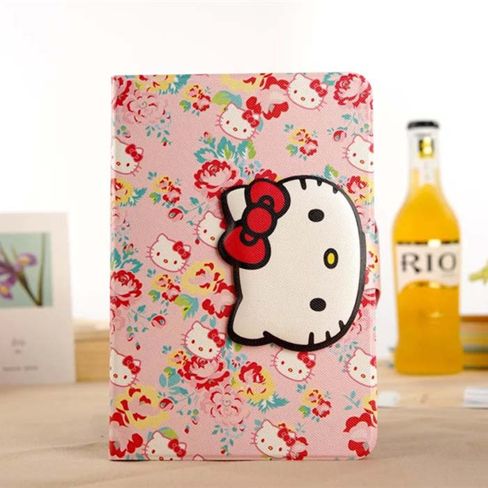 For Apple iPad Mini 1/2/3 Hello Kitty Cute Cartoon PU Leather Case Cover With Card Slots Stand Holder For iPad Mini Tablet Cases(China (Mainland))