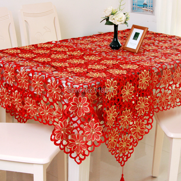 Tablecloth Red Solid Color Full Embroidered Xmas Table Linen Cloth ...