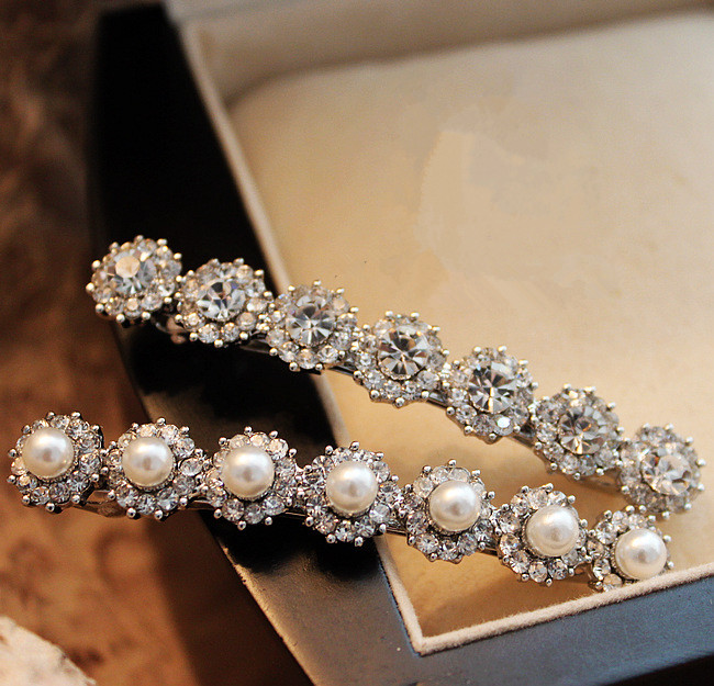 New Bridal Hair Accessories Korean Style Hairpin Pearls Barrette Bling Bling Rhinestone Hair Clip(China (Mainland))