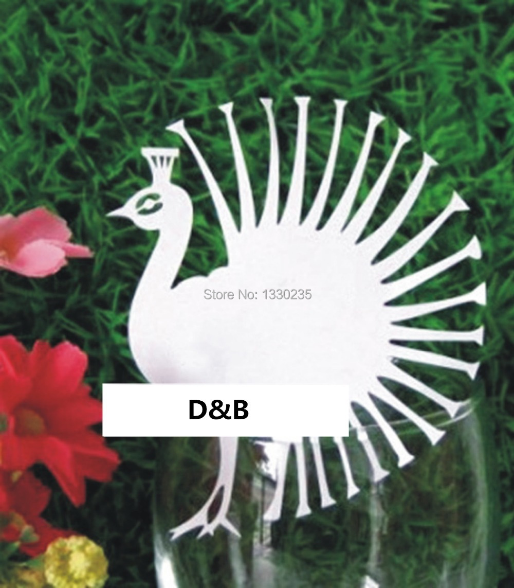 Wholesale DB 60 pcs/Lots Wedding Party Favor Wine Glasses White Peacock Table Place Cards Party Decoration Supply Name Card(China (Mainland))