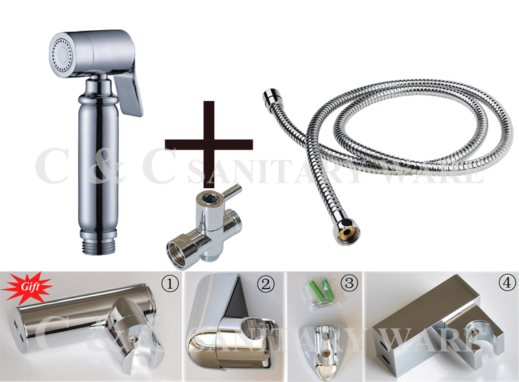 Гаджет  With Brass T-Adapter Stainless Steel Hose And Holder (Gift), Muslim Handheld Shattaf Bidet Toilet Spray Shower A2007ST None Строительство и Недвижимость