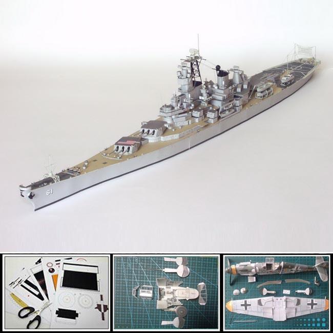 3d paper model ship World War II US battleship IOWA military model 1:400 scale 68CM long diy papercraft manual models(China (Mainland))
