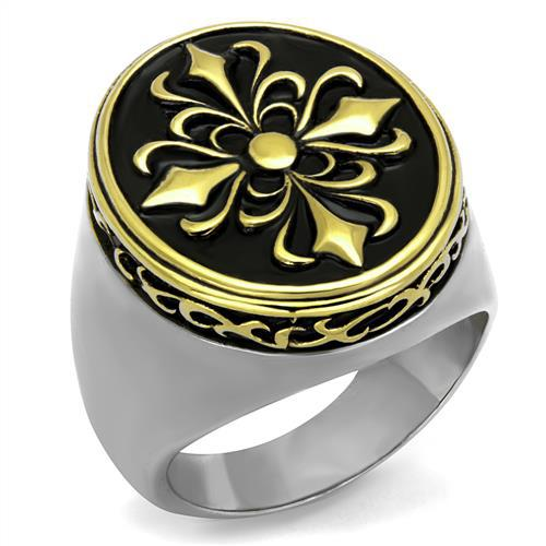 Fashion Secret IP Gold Plated High Polished Stainless Steel Ring For Men Environmental Material US Black Epoxy New Arrival(China (Mainland))