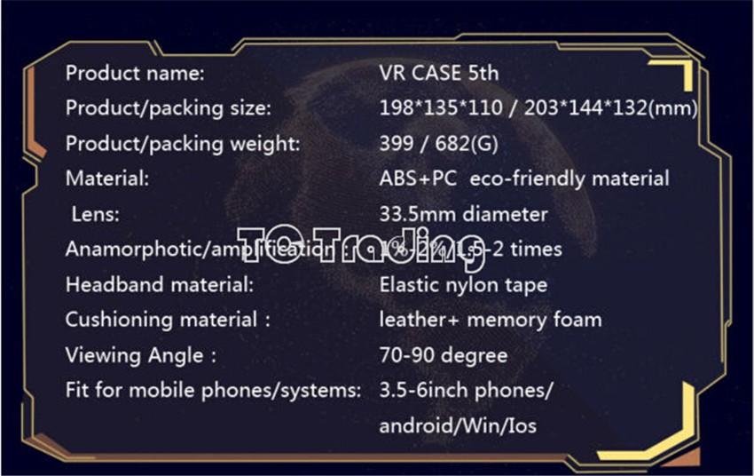 ถูก ร้อนขายVRกรณี5th G Oogleกระดาษแข็งจริงเสมือนแว่นตา3Dที่มีควบคุมบลูทูธสำหรับiPhoneซัมซุงHuaWeiมาร์ทโฟน