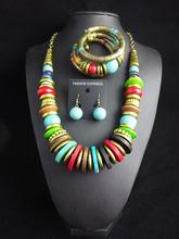 N2016031517 Fashion Tibetan  Women Statement Necklaces Wood Chain Turquoise  Necklaces & Pendants Boho Maxi necklace set (China (Mainland))