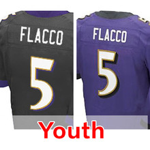 Youth #5 Joe Flacco Kid's Purple Elite Stitched Free shipping S-XL(China (Mainland))
