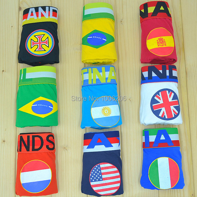 2016 New Men's Cotton Boxer Shorts Sexy Underwear Men Comfy Football Flag Sport Underpants Sleepwear Gay Penis Pouch Boxers WJ(China (Mainland))