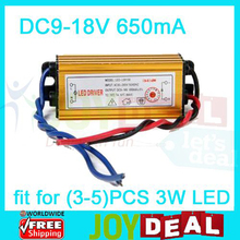 Hot Sale IP65 Waterproof Constant Current Driver for 3-5pcs 3W High Power LED AC85-265V to DC9-18V 650mA Free Shipping(China (Mainland))
