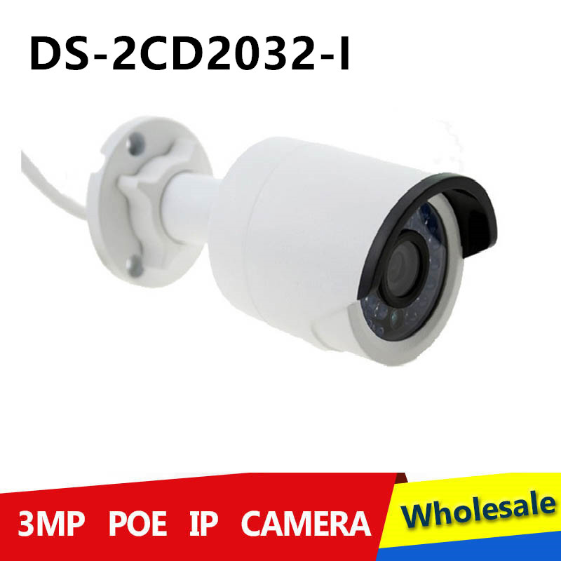 Free shipping DS 2CD2035 I 10 pcs lot 1080p infrared outdoor network camera 3MP IR bullet