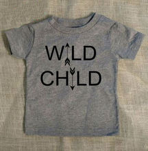 WILD CHILD arrows Print Kids t shirt Boy Girl Shirt Casual For Children Toddler Funny Hipster Top Tees Gray Gift BZ203-7(China (Mainland))