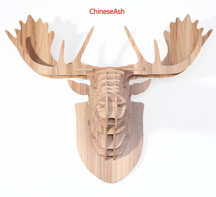 Reindeer head for wall decoration,wooden animals home decoration,wood crafts,christmas decor,moose head for decoration,carving(China (Mainland))