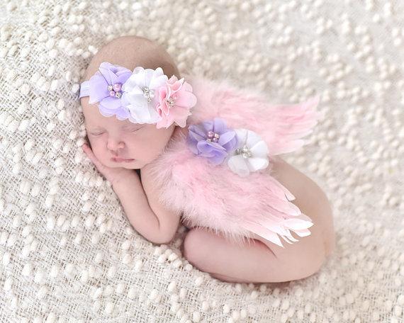 Новорожденных перо ангельские крылья горный хрусталь повязка на голову комплект детские ...