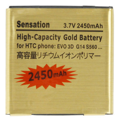 Hot Sale 2450mAh High Capacity Gold Battery for HTC EVO 3D Sensation G14 G17 G18 Z710 Z710E X515M X315E Z715 XE High Quality(China (Mainland))