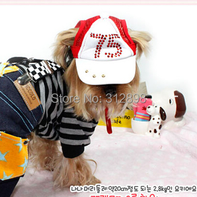 Hot Fashion Dog Accessoires Hat Blue Pink No 75 Rhinestone Baseball Cap Sun Hat Grooming S M L XL For Chihuahua Yorkshire Goods(China (Mainland))