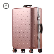 """Buy KUNDUI 20""""26""""29 Inch Men Luggage Sets Bag Trolley suitcase/rolling spinner wheels Pull Rod/woman Aluminum frame traveller case 4 for $131.18 in AliExpress store"""