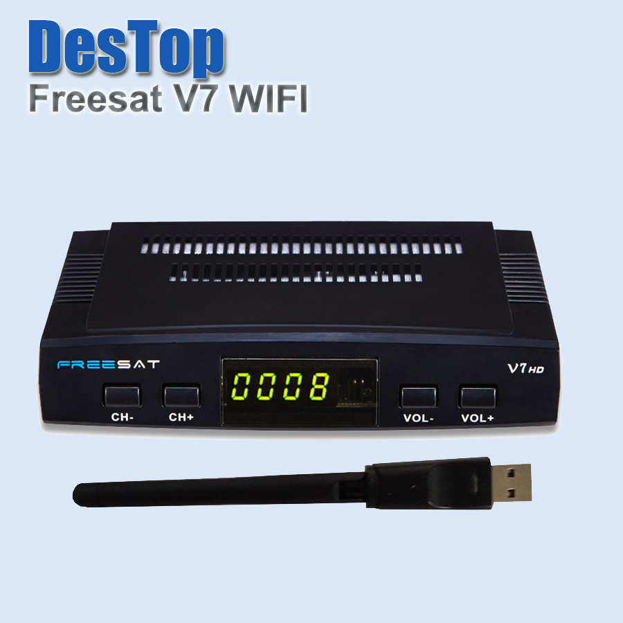 Digital tv satellite decoder Freesat V7 HD DVB-S2 + USB Wfi Support Card Sharing CCcam NEWcam MGcam Biss Key 4pcs/pc plus wifi(China (Mainland))