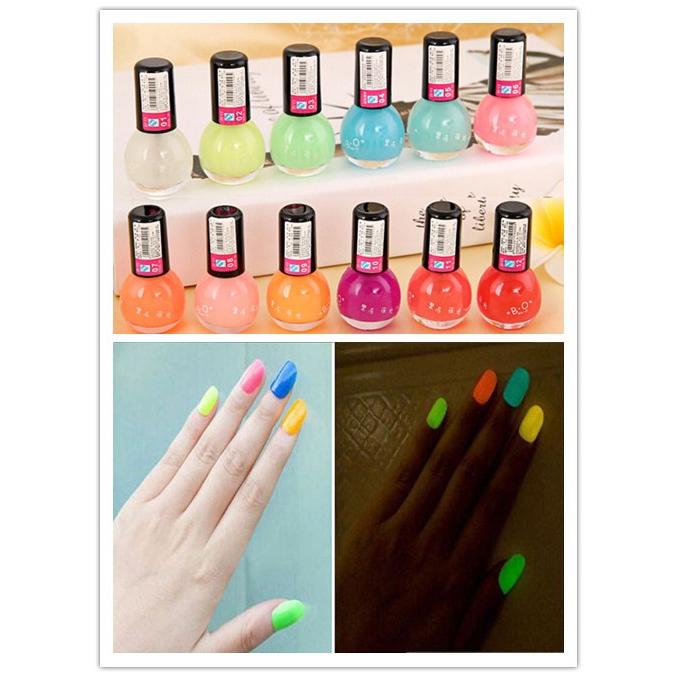 Noctilucous 12 Candy Colors Fluorescent Neon Luminous Nail Art Polish Glow Dark Enamel Promotion Best(China (Mainland))