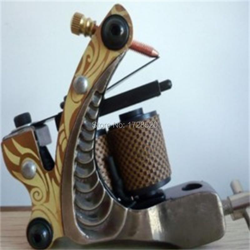 Professional 10 Wrap Coil Tattoo Machine Handmade Cast Iron Tattoo Machine Liner and Shader Free Shipping(China (Mainland))