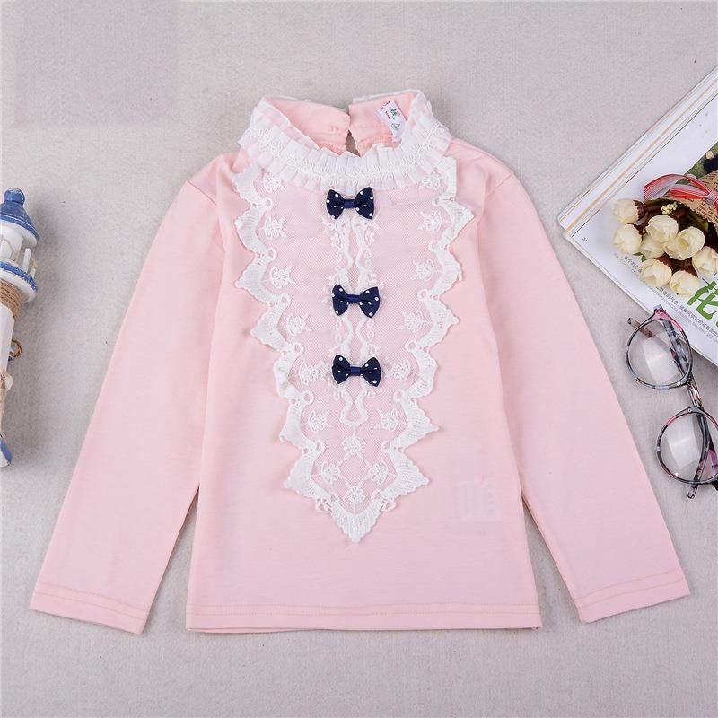2016 New Spring Autumn Sweet Baby Girls lace Pearl T-shirt Kids fashion bow Tops Tees cotton blouse Children Casual baby clothes