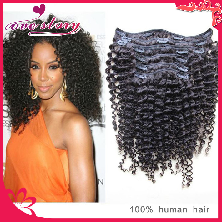 6A Mongolian virgin hair kinky curly clip in hair extensions 7Pcs 100g #1b 100% human hair clip in for africa americans <br><br>Aliexpress