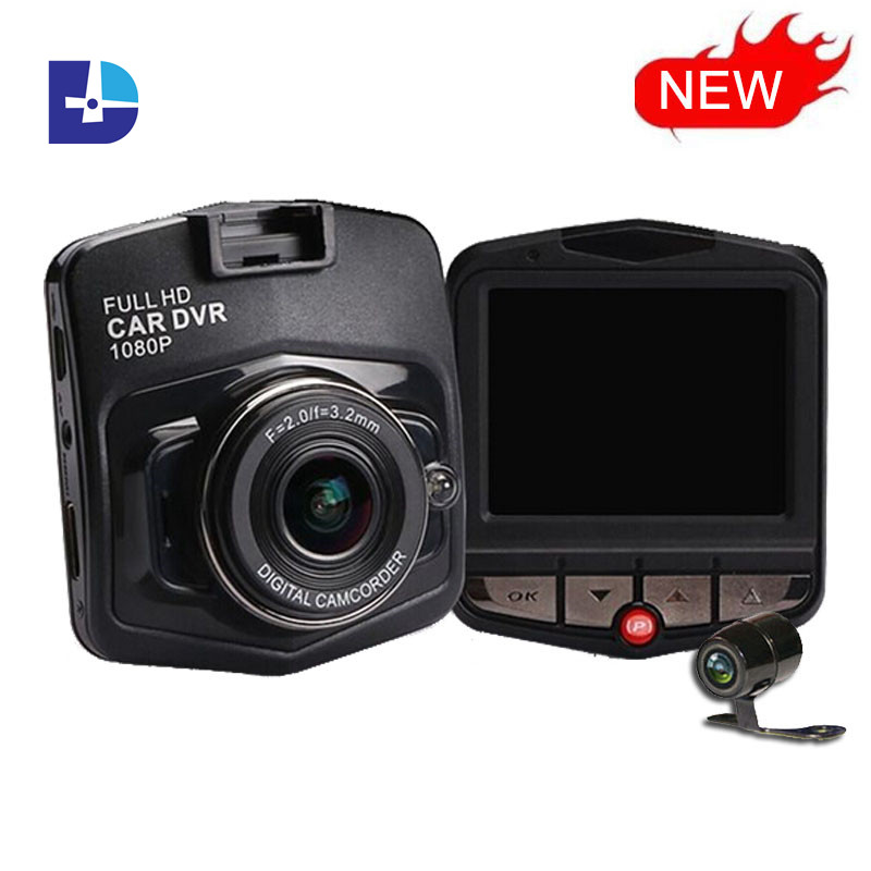 New Novatek Car DVR GT300 HD 1080P DVRs Digital Video Recorder With Rear View Camera Night Vision Dash Cam Dual Lens Blackbox(China (Mainland))