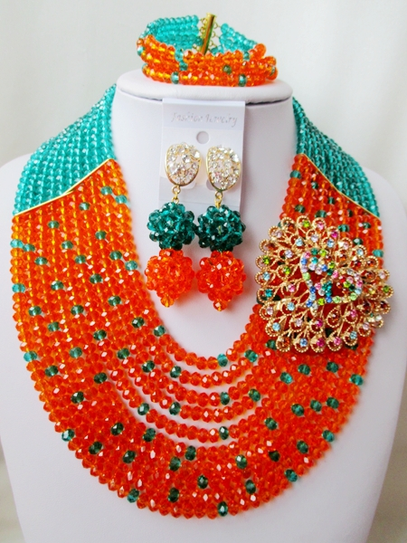 2015 Fashion african crystal beads necklace set nigerian wedding african beads jewelry set Free shipping P-4195<br><br>Aliexpress