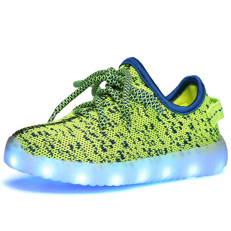 Lace-up Breathable USB Rechargeable LED lights Child Sneakers Shoes Fashion Boys Girls Spots Flat With 8 Color Change Kids Shoes