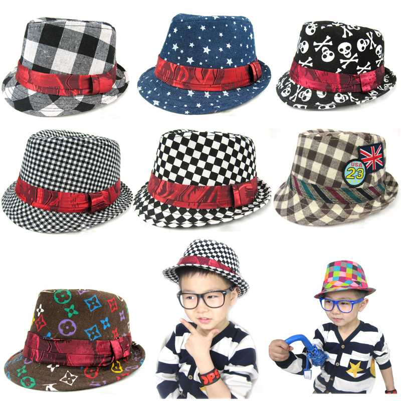 Mixed designs boys Skull Stars Checked Hat Kids Floral Fedoras Children Canvas Jazz Cap Baby Hat Baby Headgear Free Shipping(China (Mainland))