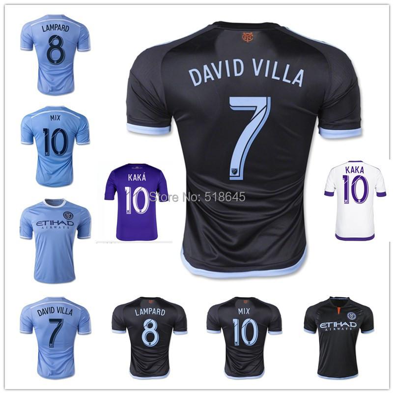 AAA+ 2015 New York city FC away black Soccer Jersey NYCFC DAVID VILLA LAMPARD Home Blue 15/16 KAKA Orlando City Football Shirt(China (Mainland))