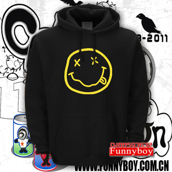 Nirvana band sweatshirt fashion rock hoodie trend smiley pullover fleece outerwear