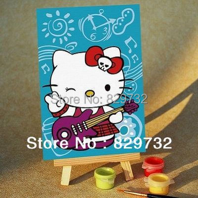 JIUJIU DIY digital oil painting by numbers Free shipping picture unique gift home decoration 10X15cm Kitty Cat paint by number