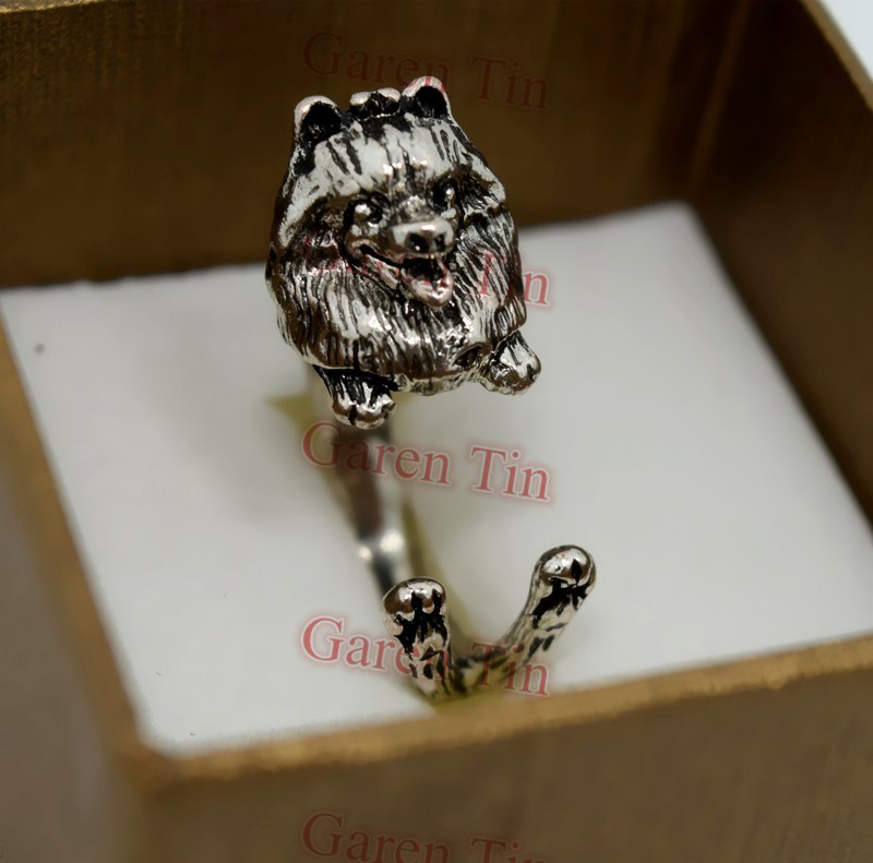 Pomeranian Wrap Ring Pomeranian Charms Handmade Animal Dog Ring Wholesale 30pcs/lot(China (Mainland))
