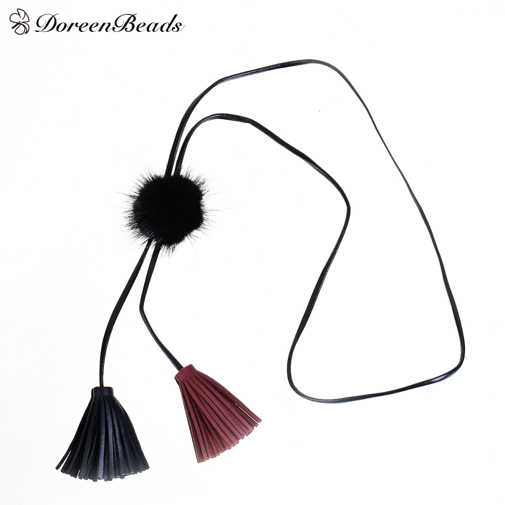 "DoreenBeads PU Leather Sweater Necklace Long Black & Gray Wine Red Tassel Round 52cm (20 4/8"") long, 1 Piece"