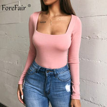 Forefair Sexy Bodycon Bodysuit Long Sleeve Square Neck Sheath Open Crotch Basic White Black Red Overalls Women Body Top(China)