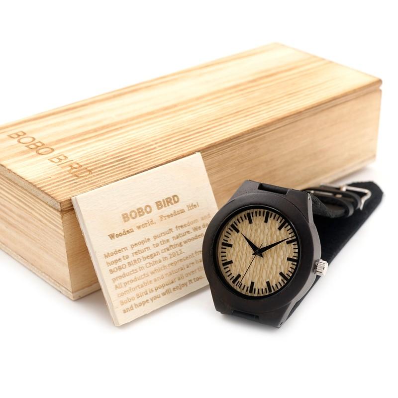 БОБО ПТИЦА Черное Дерево Женщины Марка Дизайн Роскошные Часы Аналоговые кварцевые С Реальным Кожаный Ремешок С Японскими Движения В Подарок коробка