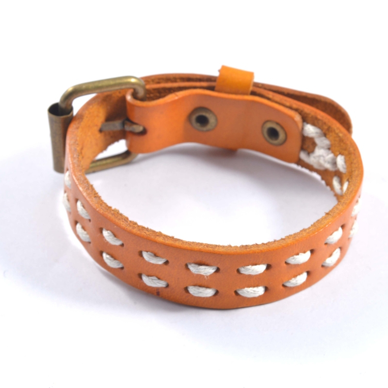 Well Knit Sew Lines Orange Brown Belt Buckle Leather Bracelet(China (Mainland))