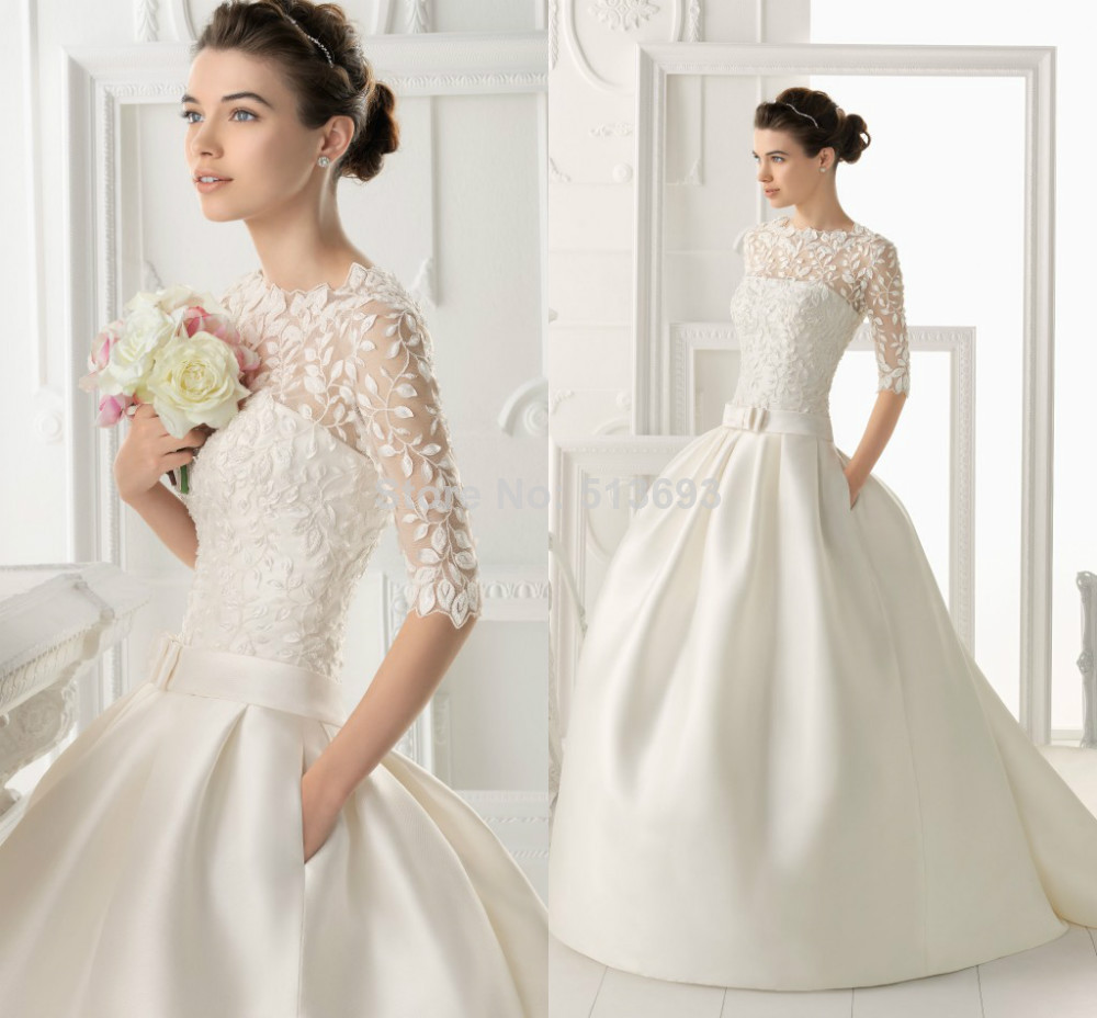 new fashioned ball gown scoop half sleeves satin lace